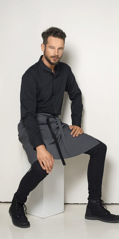 Marškiniai su stačia apykakle, ilgom rankovėm
